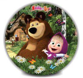 Decoração Redonda para Festa - Marsha e o Urso