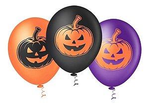 Balão látex 9 Polegadas Halloween Abobora- 25 unidades