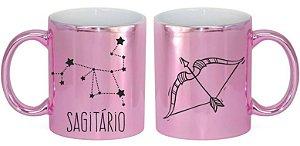 Caneca Cerâmica Cromada Rosa - Signo Sagitário
