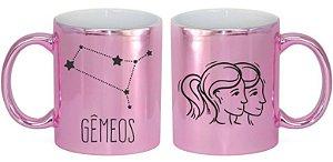 Caneca Cerâmica Cromada Rosa - Signo Gêmeos