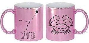 Caneca Cerâmica Cromada Rosa - Signo Câncer