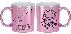 Caneca Cerâmica Cromada Rosa - Signo Escorpião