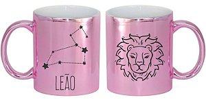 Caneca Cerâmica Cromada Rosa - Signo Leão