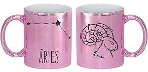 Caneca Cerâmica Cromada Rosa - Signo Áries
