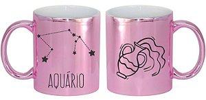 Caneca Cerâmica Cromada Rosa - Signo Aquário