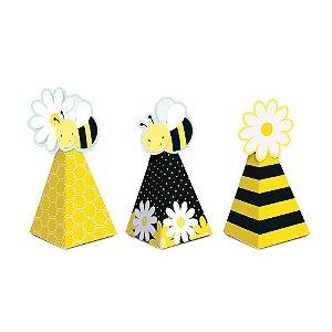 Caixa Mini Cone com Aplique - Festa Abelhinha - 08 unidades