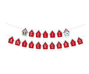Faixa Decorativa Feliz Aniversário - Festa Cachorrinhos
