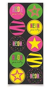 Adesivo Redondo - Festa Neon - 30 unidades
