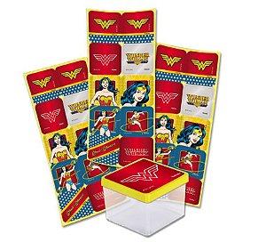 Adesivo Quadrado - Mulher Maravilha - 30 unidades