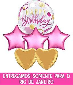 Bouquet Bubble e Balão Metalizado Inflado com gás hélio - Happy Birthday
