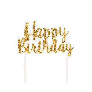 Vela Happy Birthday Dourado Glitter
