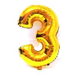 Balão Metalizado Numero 3 - Dourado 100cm