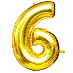 Balão Metalizado Numero 6 - Dourado 100cm