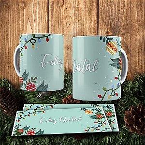 Caneca Cerâmica - Feliz Natal - Verde Água
