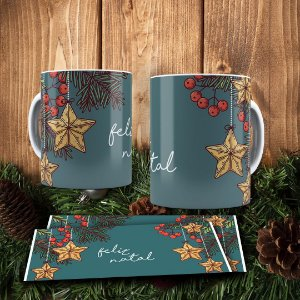 Caneca Cerâmica - Feliz Natal Luxo