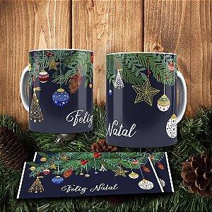 Caneca Cerâmica - Feliz Natal Luxo Azul