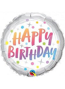 Balão Metalizado 46cm - Happy birthday prata