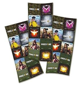 Adesivo Quadrado - Free Fire - 30 unidades