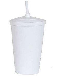 Copo Twister 400ml - Branco - Com tampa e canudo