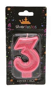Vela Glitter nº3 Rosa