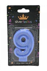 Vela Glitter nº9 Azul