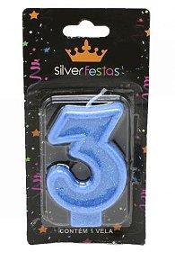 Vela Glitter nº3 Azul