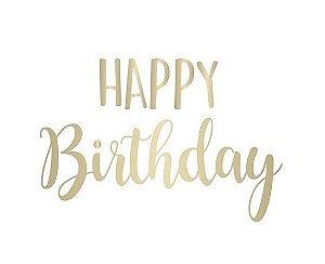 Lettering Ouro em Transfer para Balão - Happy Birthday