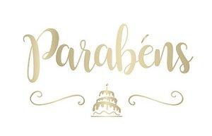 Lettering Ouro em Transfer para Balão - Parabéns