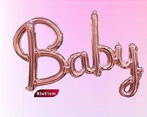 Balão Metalizado Escrita  Baby - Rose Gold