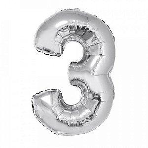 Balão Metalizado Número 3 - Prata - 70 cm