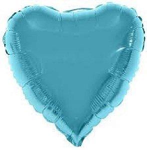 Balão Metalizado  - Coração Azul claro - 45cm