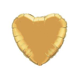 Balão Metalizado  - Coração dourado claro - 45cm
