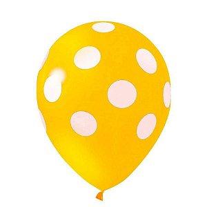 Balão Latex  nº10 - Amarelo c/ branco  - pic pic
