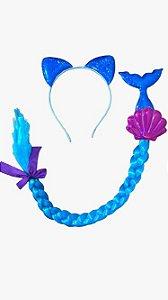 Tiara Sereia e trança Azul - Carnaval