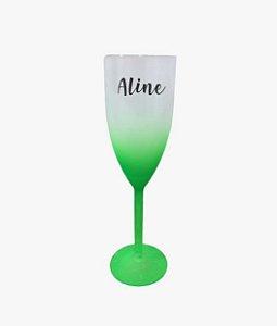 Taça de Champagne Personalizada Degrade - Verde - 01 unidade