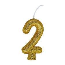 Vela Numeral Cintilante - dourado - Nº 0