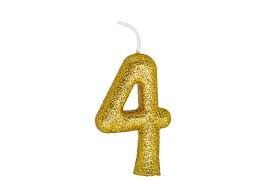 Vela Numeral Cintilante - dourado - Nº 4