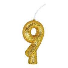 Vela Numeral Cintilante - dourado - Nº 9