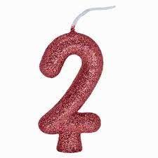 Vela Numeral Cintilante - ouro rose - Nº 2