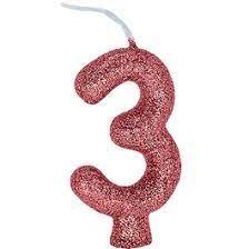 Vela Numeral Cintilante - ouro rose - Nº 3