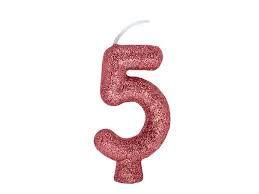 Vela Numeral Cintilante - ouro rose - Nº 5