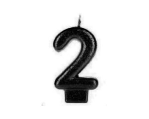 Vela Numeral Cintilante - Preta - Nº 2