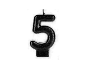 Vela Numeral Cintilante - Preta - Nº 5