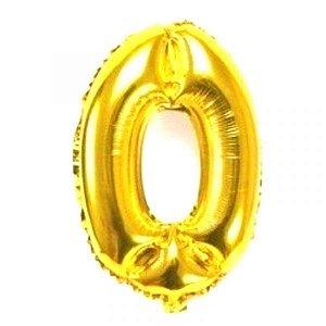 Balão Metalizado Numero 0 - Dourado 70 cm