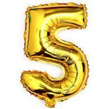 Balão Metalizado Numero 5 - Dourado 70cm