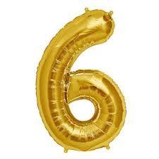 Balão Metalizado Numero 6 - Dourado 70cm