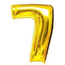 Balão Metalizado Numero 7 - Dourado 70cm