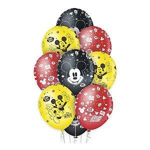 Balão Látex 12 polegadas - Mickey Clássico - 10 unidades