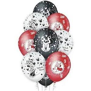 Balão Látex 12 polegadas - Minnie Vermelha - 10 unidades