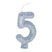 Vela Numeral Cintilante - prata - Nº 5